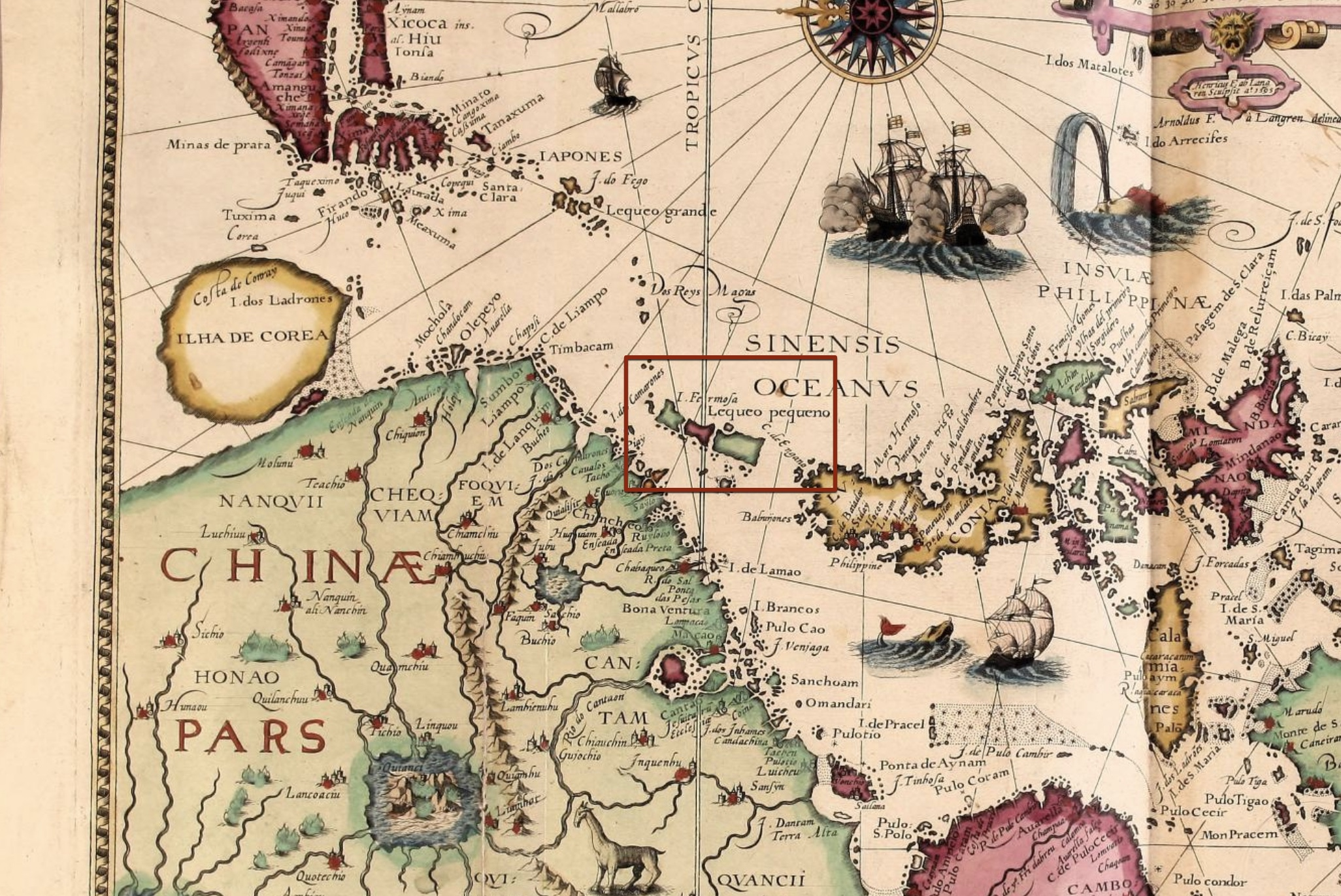 1596 map included in a book by Dutchman Jan Huygen van Linschoten. Early depiction of Taiwan, labeled I. Formosa